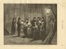 Longueuil, Canada, St. Lawrence. Christmas Caroling, Vintage 1876 Antique Print,