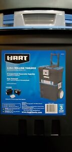 HART 3-in-1 16-Inch Smart Mobile System Rolling Plastic Tool Box, Black & Blue