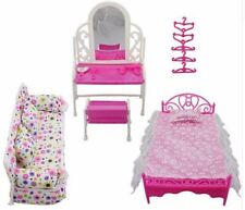 Doll House Furniture Living Room Sofa Bed Dressing Table Hanger Kids Toy Gift