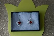 Deluxe Heart Shape Red Blood Ruby CZ Silver Earrings 6.6 Gr. 3.5 Cm. Long In Box
