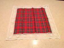 Vintage Ladies Handkerchief Hankies Hanky Christmas Lace Red, White , Green NICE