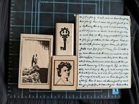 EUC! HTF! Destash Lot of 4 Wood Mounted Stamps Romantic Anniversary Love-themed❤