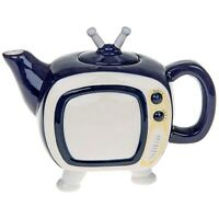 Retro collectable blue Teapot Tv tea vintage novelty ceramic ornament gift