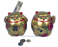 Lucky Cat Figurine Wealth Money Box Gold Build Your Fortune
