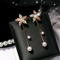 Women Fashion Crystal Flower Pearl Earrings Ear Stud Dangle Earring Jewelry Gift