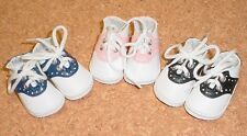 Doll Shoes, 60mm Saddles - WHITE with NAVY