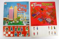 2 Vintage 1970's Whitman Tiny City Town Press Out Books Western Publishing