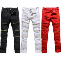 Men's Ripped Skinny Jeans Stretch Destroyed Frayed Slim Fit Denim Pants Trousers