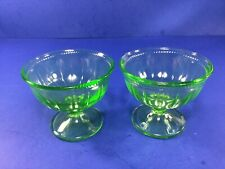 Vintage, Federal Glass Co. 2 ea - Green Vaseline Glass, Footed Sherbet Dish