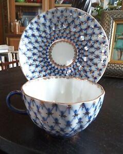 Russian Imperial Porcelain Lomonosov Cobalt Net Blue Teacup w/Saucer