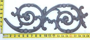"Vintage Ornate Cast Iron Scroll Curve Spiral Wall Decor Art Panel 20"" x 7"" SI"