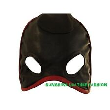 Real Genuine Red Piping Black Leather Eye Mask Face Mask Face Hood Laces Back