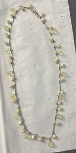 16 INCH DIANA KANE SIGNED STERLING SILVER CRYSTAL & MOTHER OF PEARL NECKLACE