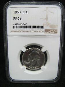 1958 Silver Washington Quarter - NGC PF 68