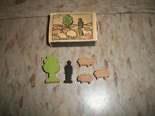 c1940s West Germany Small Wooden Toy Shepherd w Sheep & Box