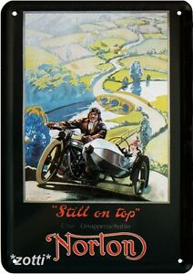 Blechpostkarte 10 cm x 14,5 cm Norton Motorrad Still on top Reklame