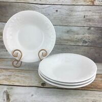"""GIBSON FRUIT ALL WHITE White Embossed Fruit Round 8"""" Soup Cereal Bowls Set 4"""