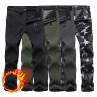 Mens Thick Fleece Thermal Cargo Walking Combat Trousers Waterproof Work Pants