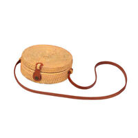 Women Rattan Handbag Round Weave houlder Bag with Leather Strap Cross Body