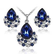 Strass Set Tropfen ROYAL BLAU Braut Schmuckset Collier Kette Ohrstecker Ohrringe