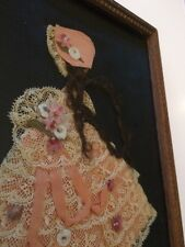 Antique Vintage Ribbon Doll Art Paper Doll Pink Hair Shabby Girl Ruffles Lace