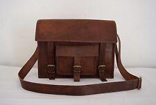"Vintage Leather Satchel 13"" Macbook Laptop Crossbody Messenger Bag Eco-Friendly"