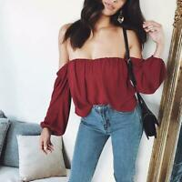 Womens Off Shoulder Long Sleeve Loose Top Ladies Summer Casual Blouse T-shirt 6L