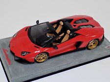 1/18 MR Collection Lamborghini Aventador Roadster LP720 Red with Gold Wheels