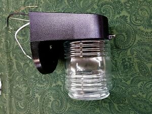 MOBILE HOME PART OUTSIDE PLASTIC LIGHT FIXTURE PORCH LIGHT JELLY JAR GLOBE BLACK