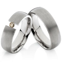 2 Eheringe Trauringe mit echtem Diamant Verlobungsringe aus Titan TLB31
