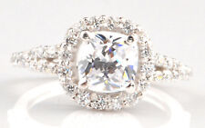 14KT Gold / 3.75Ct D-Color Cushion Shape Solitaire With Accents Anniversary Ring