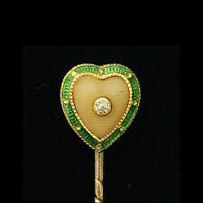 Edwardian 18ct, 18k, 750 Gold Diamond, coral and enamel heart, Stick, tie pin