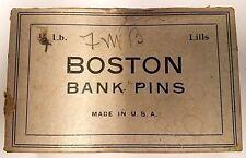 VINTAGE BOX OF BOSTON BANK SEWING PINS~
