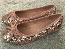 Girls Rose Gold Sequin Ballet Pumps Party Shoes UK 11