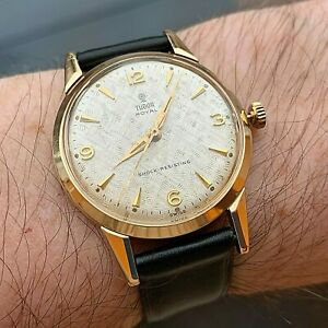Superb Vintage Tudor By Rolex Gents 9ct Gold Watch With Textured Dial