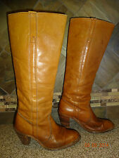 Vintage Womens  FRYE Sz 6.5B Tall Brown Leather Boots Stacked Wood Heels