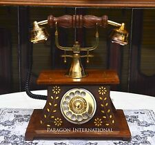 WOODEN TELEPHONE VINTAGE ANTIQUE GOLD ENGRAVED BRASS ROTARY DIAL