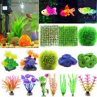 Artificial Grass Coral Plastic Water Plants Ornament Aquarium Fish Tank Decor