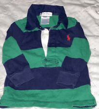 New listing Polo Ralph Lauren Baby Boys LONG SLEEVE RUGBY SHIRT 6M Blue Green Red Pony Logo