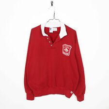 Vintage Kid's RUSSELL ATHLETIC USA Button Neck Sweatshirt Red | XL