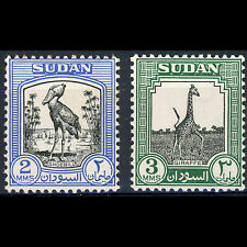 SOUTH SUDAN 1951-61 2m & 3m Stork,Giraffe. SG 124-125 Lightly Hinged Mint(AM151)