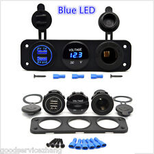 3 Hole Panel+Dual USB Socket+Voltmeter Meter+Power Socket  for 12V Car Van Boat