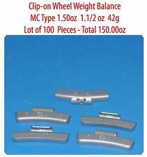 100 Pcs ZN CLIP-ON Wheel Weight Balance MC Type 1.50oz 1.1/2oz  42g Total 150 oz