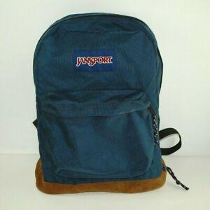 Vintage Jansport Leather Suede Bottom Backpack Blue Nylon - Good Used Condition