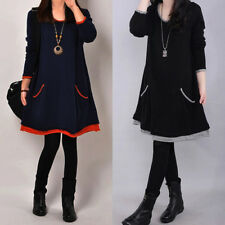 Autumn Winter Women Loose Casual Mini Dresses Long Sleeve Party Dress Plus Size