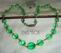 VINTAGE CZECH  ART DECO RARE PAGODA CUT GREEN CRYSTAL BEAD ROLLED GOLD NECKLACE