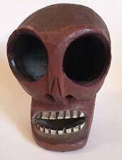 Carved Wood Wooden Human Skull Folk Art Unique oddity Skeleton