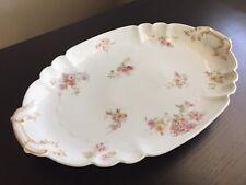 Haviland Limoges Porcelain French Serving Tray Platter Large Plate Gilt Flowers