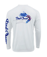 Long Sleeve White USA UPF 50+ Microfiber Performance Fishing Shirt
