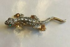 Vintage Jewelry Brooch Pin Lizard Gecko Rhinestone Good Tone Metal